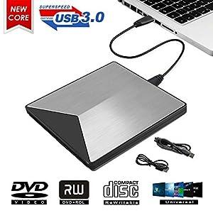 MingBin Masterizzatore Dvd Esterno, USB 3.0 Lettore CD Dvd Esterno Portatile Masterizzatore Dvd unità di Lettura Dvd Esterne per PC, Laptop, MacBook Air/PRO, Mac OS