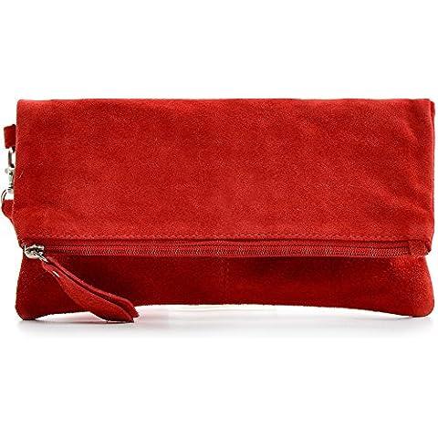 CNTMP - bolso para señora, clutches, clutch, bolsos de mano, bolsos, bolsos de fiesta, bolsos de tendencia, gamuza, ante, bolso de cuero (pequeño, rojo), 21x12x2,5cm (l x an x