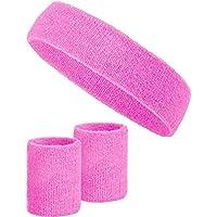 Balinco 3-teiliges Schweißband-Set mit 2X Schweißbändern für die Handgelenke + 1x Stirnband für Damen & Herren