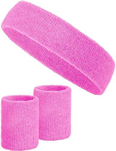 Balinco 3-teiliges Schweißband-Set mit 2X Schweißbändern für die Handgelenke + 1x Stirnband für Damen & Herren (Rosa) (Damen Fußball Kostüm)
