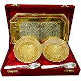 Cameo Brass Silver And Gold Plated Floral Shaped Brass Bowl And Tray Set - B07BGV26VH