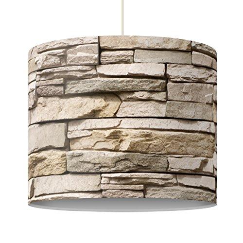 Lampe design asiatique Stonewall - Mur en pierre avec de grandes pierres brillantes, dimensions : 34 x 40 cm