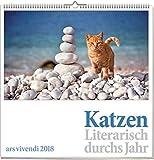 Katzen: Literarisch durchs Jahr 2018, vierfarbiger Monatskalender. Format 50 x 50 cm
