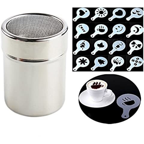 Little Poplar Dispensadores de chocolate Shaker plumero de café Tamiz Harina Acero Inoxidable Sal + 16pcs Cappuccino Plantillas Plantilla plumero spray Arte