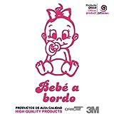 Artstickers® - Adesivo Bebè a bordo da bimba,collezione Babyfun, 10colori a scelta + regalo sorpresa 9cm x 16,5 cm Rosa