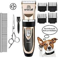 Oneisall Haustier Grooming Clipper Kits Geräuscharmer Haarschneidemaschine Hund und Katze wiederaufladbare drahtlose elektrische leise Tierhaarschneider