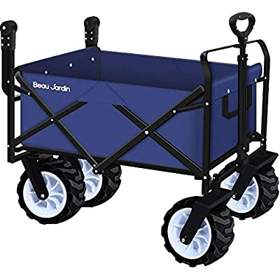BEAU JARDIN Garden Cart Foldable Push Wagon Cart Collapsible Utility 220lb Max load Sturdy Portable Rolling Lightweight Beach Outdoor Garden Picnic Heavy Duty Shopping Cart Wagons Upgrade