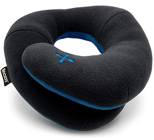 BCOZZY Kinn-stützendes Reisekissen - Kein nach vorne Kippen des Kopfes mehr - Stützt bequem Kopf, Hals und Kinn in jeder Sitzposition. EIN patentiertes Produkt. Erwachsenengröße, Schwarz