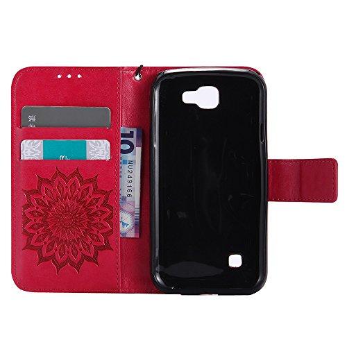 Für LG K3 Fall, Prägen Sonnenblume Magnetische Muster Premium Weiche PU Leder Brieftasche Stand Case Cover mit Lanyard & Halter & Card Slots ( Color : Rose Gold ) Red