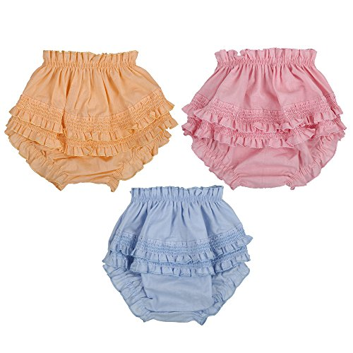 GURUKRIPA DRESSES- COTTON FABRIC & BACK FRILL PANTY FOR BABY GIRL INNER WEAR DRAWER PANTY BLOOMER UNDERWEAR BABY GIRL BRIEF GIRL CASUAL NIKKER FOR BABY GIRLS SET OF 3 PCS MONTHS. (0 TO 6 MONTH )