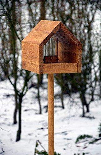 Luxus-Vogelhaus 46601e Eiche-Vogelfutterhaus mit Ständer, Satteldach, Futtertablett und Silo - 6