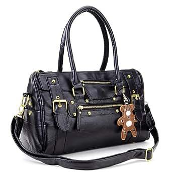 Ladies Womens Handbag Designer Satchel Collage Shoulder Bag Across Body duffle bear key ring accesssory black