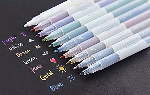 TININNA Metallic Marker Pens Satz von 10 Farben für DIY Basteln Fotoalbum Gästebuch Kartenherstellung Gebrauch auf irgendeiner Oberfläche-Papier Glas Kunststoff Keramik