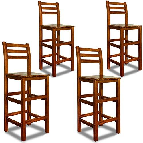 Deuba 4er Set Barhocker mit Lehne I Massives Akazienholz I Optimale Sitzhöhe 75cm I Fußablage - Barstuhl Bar Hocker Holz