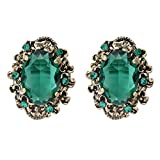 Clearine Women\s Victorian Style Crystal Floral Cameo Inspired Oval Stud Earrings