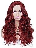 Spretty Charme Fluffy Vino Ricci Lungo Rosso Parrucche Sintetiche Per le Donne del Partito Costume Cosplay Nient'Altro