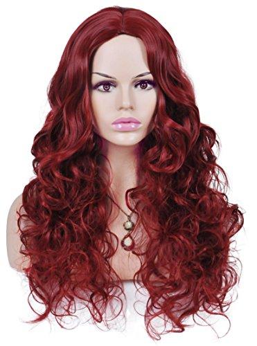auschige Wein Rot lange lockige synthetische Perücken für Frauen Cosplay Kostüm Partei keine Pony ()