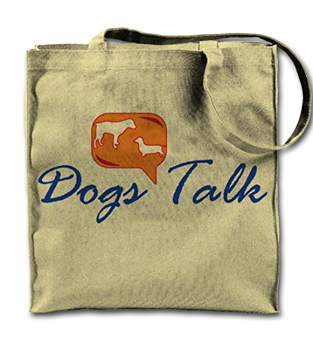 Dogs Talk Cool Pets Natural Canvas Tote Bag, Cloth Shopping Shoulder Bag -