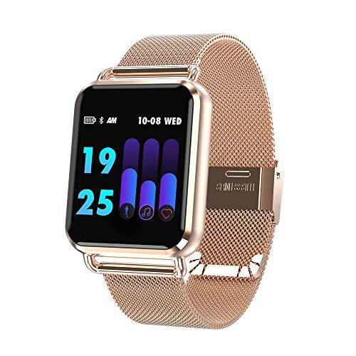 Miya Q3 intelligente Uhr, Fitness Wristband mit Pulsmesser Sport Blut Tracker Smart Uhren Sportaktivität, Wasserdichte Zähler Schlaf Monitor Schrittzähler Bluetooth-Sportuhr für Android und IOS-Gold01 (Blut-zähler)
