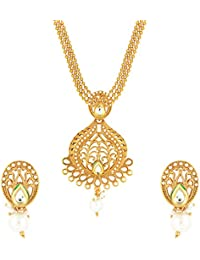Traditional Bold Pear Kundan Designer Necklace Set By Parisha Jewells With Artificial Pearl NL7070020