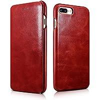 FUTLEX - Custodia a libro per iPhone 7 Plus in vera pelle e in stile vintage - Rosso - Design esclusivo - Ultra sottile - Taglio e design precisi - Artigianale - Copertura Bibbia Red