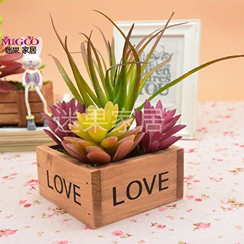 self-my fleurs artificielles émulation plantes carnosas Frise florales en pot Desktop applet pour balancearse dans l'air de la caisse de bois carrés de Pasto Violet Fleurs Plantes