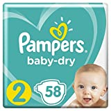 Pampers - Baby Dry - Couches Taille 2 (4-8 kg) - Pack Géant (x58 couches)