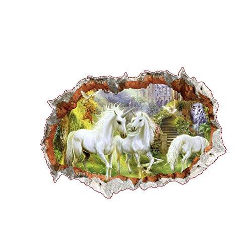 Kicode attachmenttou weißes Pferd Wohnzimmer-Dekor-Kunst Aufkleber Animal Lounge 3D-Effekt durch Wandaufkleber (Welpen Tragen Ein Kostüm)