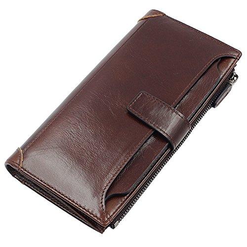 iPretty Herren echt Leder Geldbörse Portemonnaie Vintage Geldbeutel mit Reißverschluss kurz und lang schwarz Lang-braun