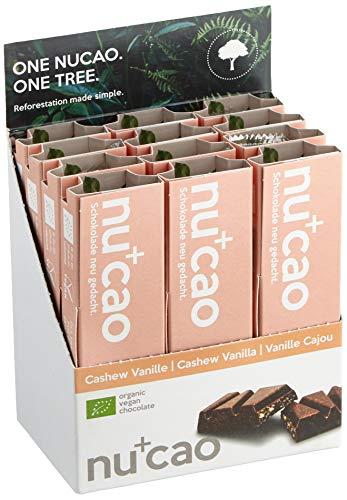nucao Veganer Bio Superfood Riegel - Cashew Vanille - Nährstoffreiche Vegane Schokolade aus Hanfsamen & Roh-Kakao, 480 g