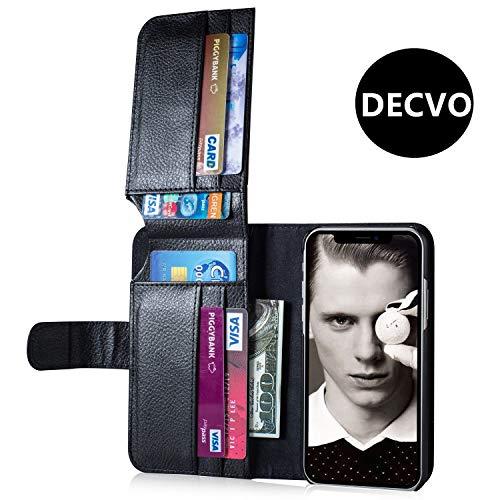 iPhone X Geldbörse Fall, iPhone 10Fall, decvo High-End iPhone X Fall mit Kreditkarte Halter Slim Leder stoßfest Schutz Hybrid, Multifunktional Litschi Muster Tasche für iPhone X 14,7cm, Schwarz -