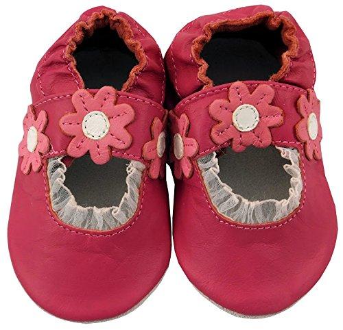 MiniFeet Premium Weich Leder babyschuhe 0-6, 6-12, 12-18, 18-24 Monate und 2-3, 3-4 Jahre Dunkelrosa Sandale
