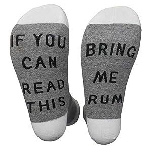 Wanghuaner Crew Socks Unisex Cotton Novelty Letters Wenn Sie Lesen Können, Bringen Sie Mir Rum Strumpfwaren