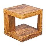 Couchtisch SHIVA Stone-A 50x50 Akazie Massivholz Wohnzimmertisch Beistelltisch