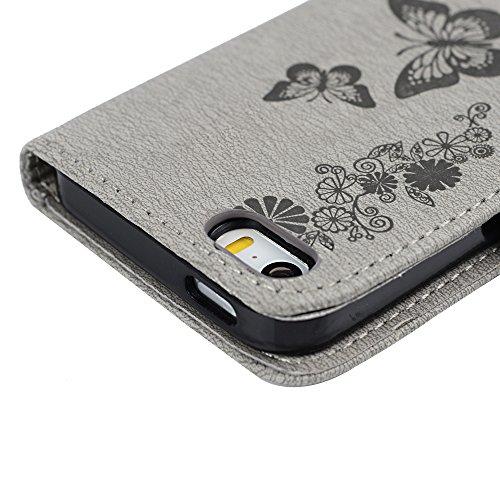 iPhone 5 Coque, iPhone 5S Coque, Bookstyle Étui Arbres Housse Imprimé en PU Cuir Case à rabat Coque de Protection Portefeuille TPU Silicone Case pour iPhone 5/ 5S - Gris Gris