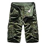 Herren Cargo Shorts Bermuda Kurze Hose Sport Outdoor Camouflage Sommerhose Medium Armee-Grün