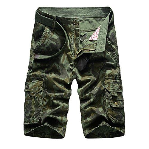 Herren Cargo Shorts Bermuda Kurze Hose Sport Outdoor Camouflage Sommerhose Large Armee-Grün