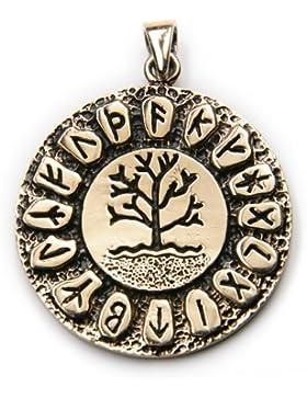 Runen Lebensbaum Bronze Schmuck Anhänger Länge mit Öse: 4cm, Ø 3cm, inkl. Band