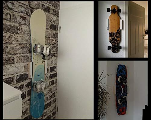 Clipboart ® Universal Wandhalterung weiß für Longboard Snowboard Wakeboard Halterung Wandmontage Wandhalter Halter Holz horizontal vertikal diagonal Cliphalterung -