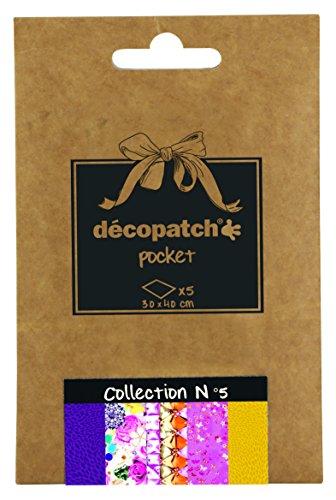 Décopatch DP005O Packung Décopocket mit 5 Papierbogen (30 x 40 cm) (gefaltet, 13 x 9,5 cm, praktisch zum Transportieren und einfach zum Verwenden) 1 Pack farbig sortiert