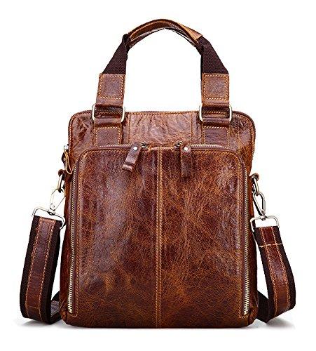 9cfd0e2f65256 Everdoss Herren Vintage Umhängetasche echt Leder Schultertasche Cross Body  Messenger Bag mit Schultergurt Business Hell Braun