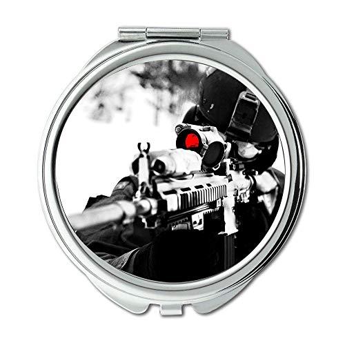 Yanteng Spiegel, Schminkspiegel, Waffenvitrine, runder Spiegel, HD-Pistole, Taschenspiegel, tragbarer Spiegel
