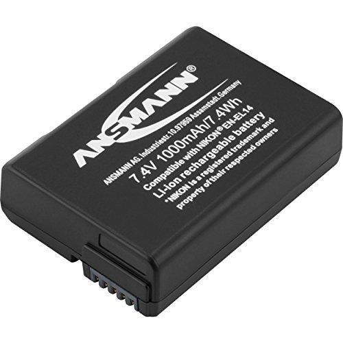 ANSMANN Kamera Akku EN EL 14 Li-Ion 7,4V 1000mAh - ideal für Nikon Coolpix P7000, P7100, P7700, P7800, Df, D3100, D3200, D3300, D3400, D5100, D5200, D5300, D5500, D5600 uvm.