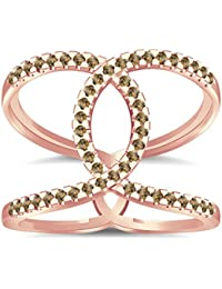Silvernshine Halo Twist Citrin CZ Diamond Engagement Ring 14k Rose Gold Plated Bridal Ring Set