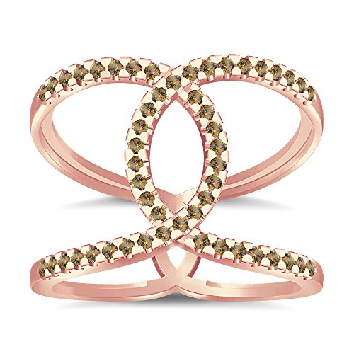 Silvernshine Halo Twist Citrin CZ Diamond Engagement Ring 14k Rose Gold Plated Bridal Ring Set