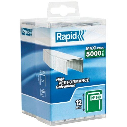 Rapid, 40303091, Agrafes N°140, Longueur 12mm, 5000 pièces, Pour les travaux de construction et d'isolation, Fil galvanisé, Haute performance