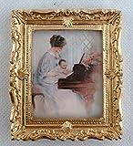 Accessoires Pour Maison De Poupées Miniature Premier Piano Lesson Image Peinture Cadre Or