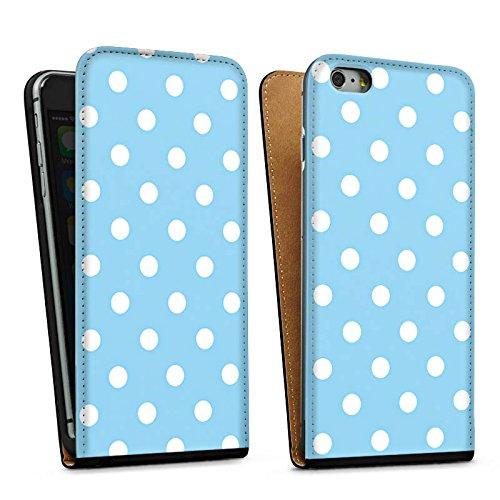 Apple iPhone 5 Housse Étui Protection Coque Points Motif bleu blanc Polka Sac Downflip noir