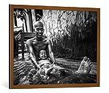 kunst für alle Bild mit Bilder-Rahmen: Roe What is Happiness? - Dekorativer Kunstdruck, Hochwertig gerahmt, 100x75 cm, Kupfer Gebürstet