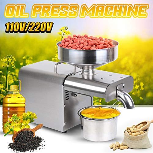 NBSXR Edelstahl Küche Ölpresse Maschine, Kalt/Heißpresse Automatische Ölextraktor, für Oliven Flachs Erdnuss Castor Hanf Perilla Raps Sesam